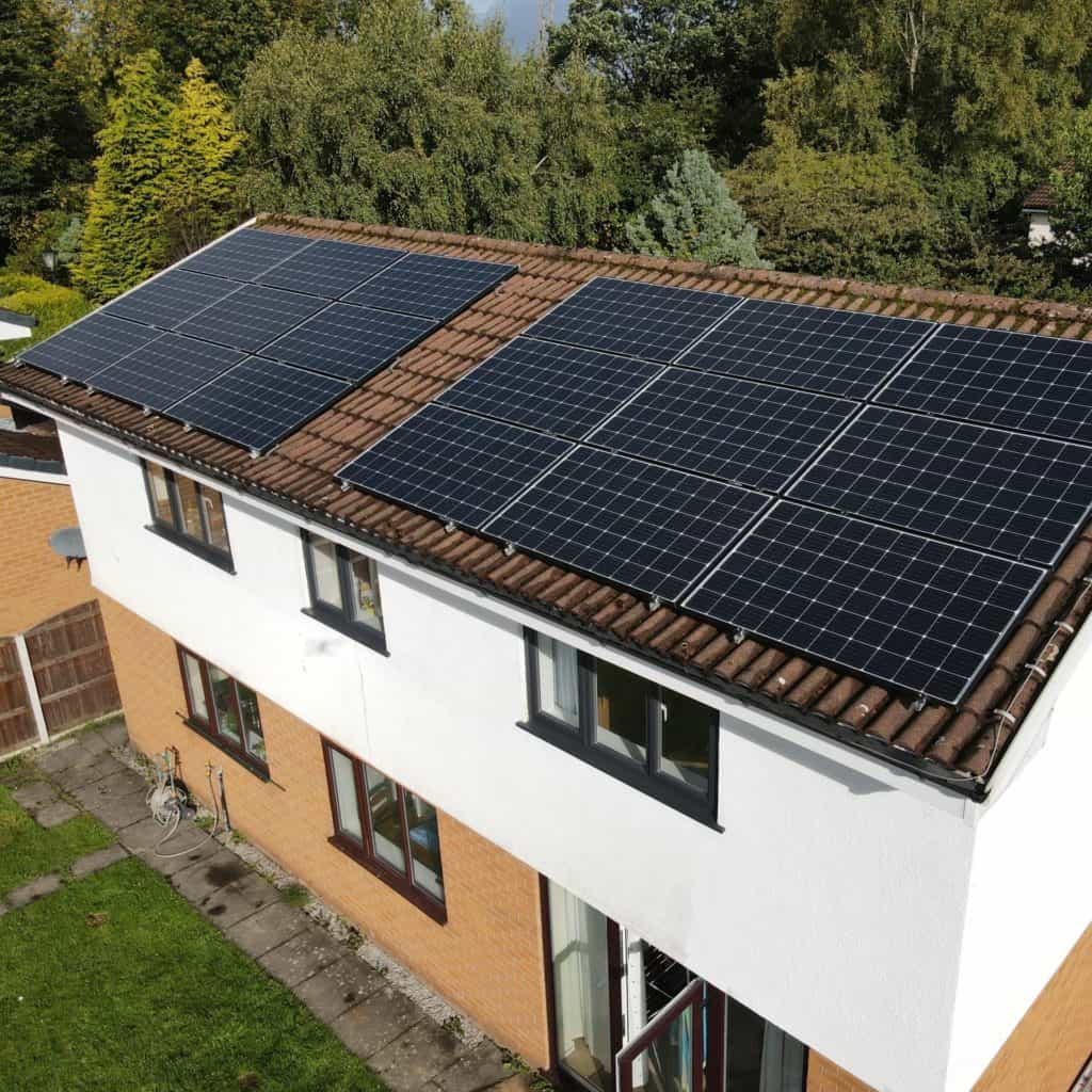 Home renewable energy system. In-roof solar panels.