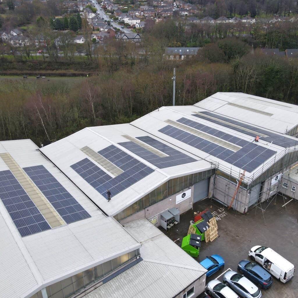 Commercial solar installation on factory
