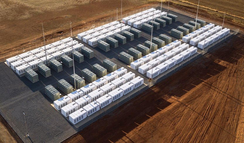 Battery storage plant. Tesla's Hornsdale Project in Australia.
